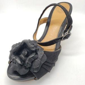 Nurture Poppy Rope Wedge Sandals w Leather Flowers